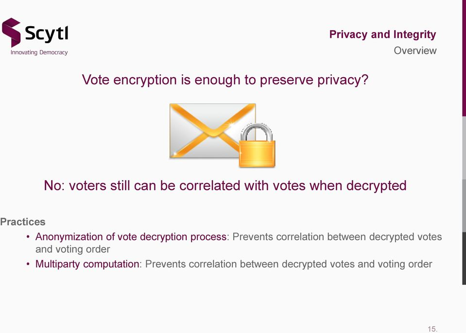 decrypted Practices Anonymization of vote decryption process: Prevents correlation