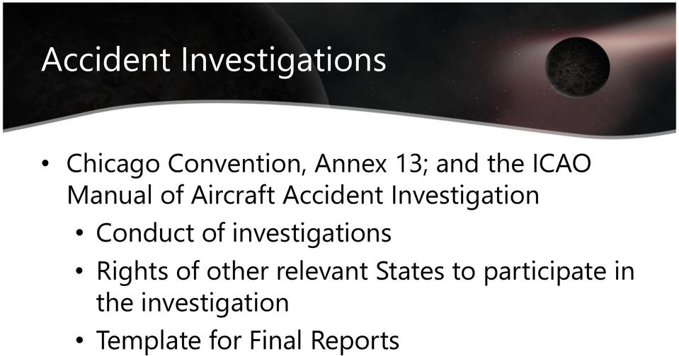 Conduct of investigations Rights of other relevant States