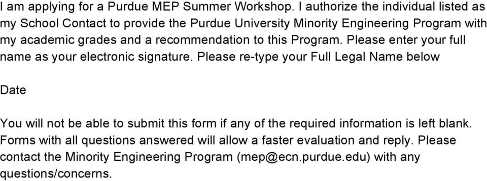 recommendation to this Program. Please enter your full name as your electronic signature.