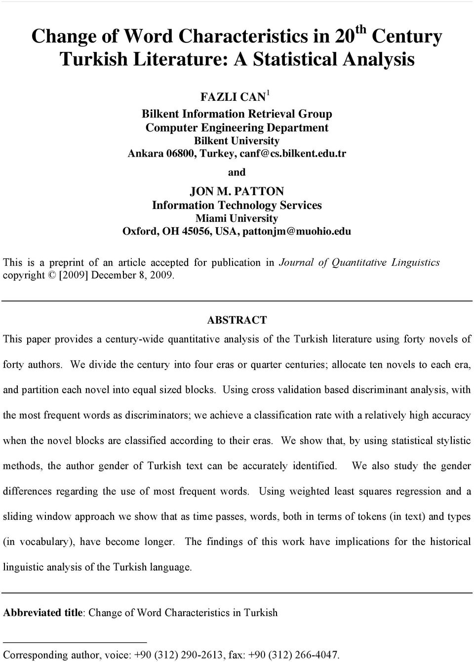 edu This is a preprint of an article accepted for publication in Journal of Quantitative Linguistics copyright [2009] December 8, 2009.