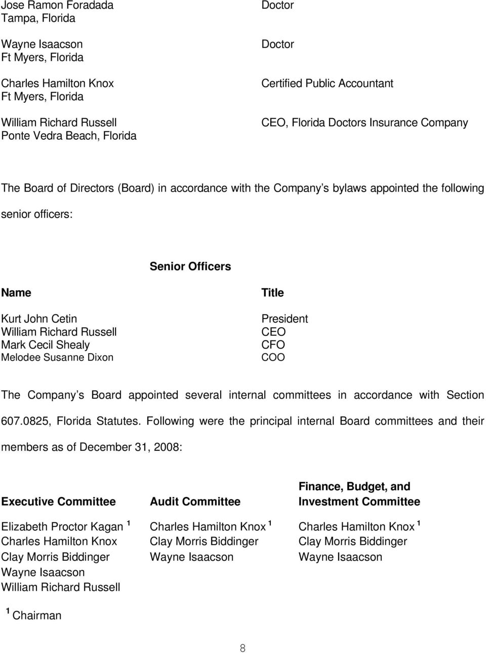 William Richard Russell Mark Cecil Shealy Melodee Susanne Dixon Title President CEO CFO COO The Company s Board appointed several internal committees in accordance with Section 607.