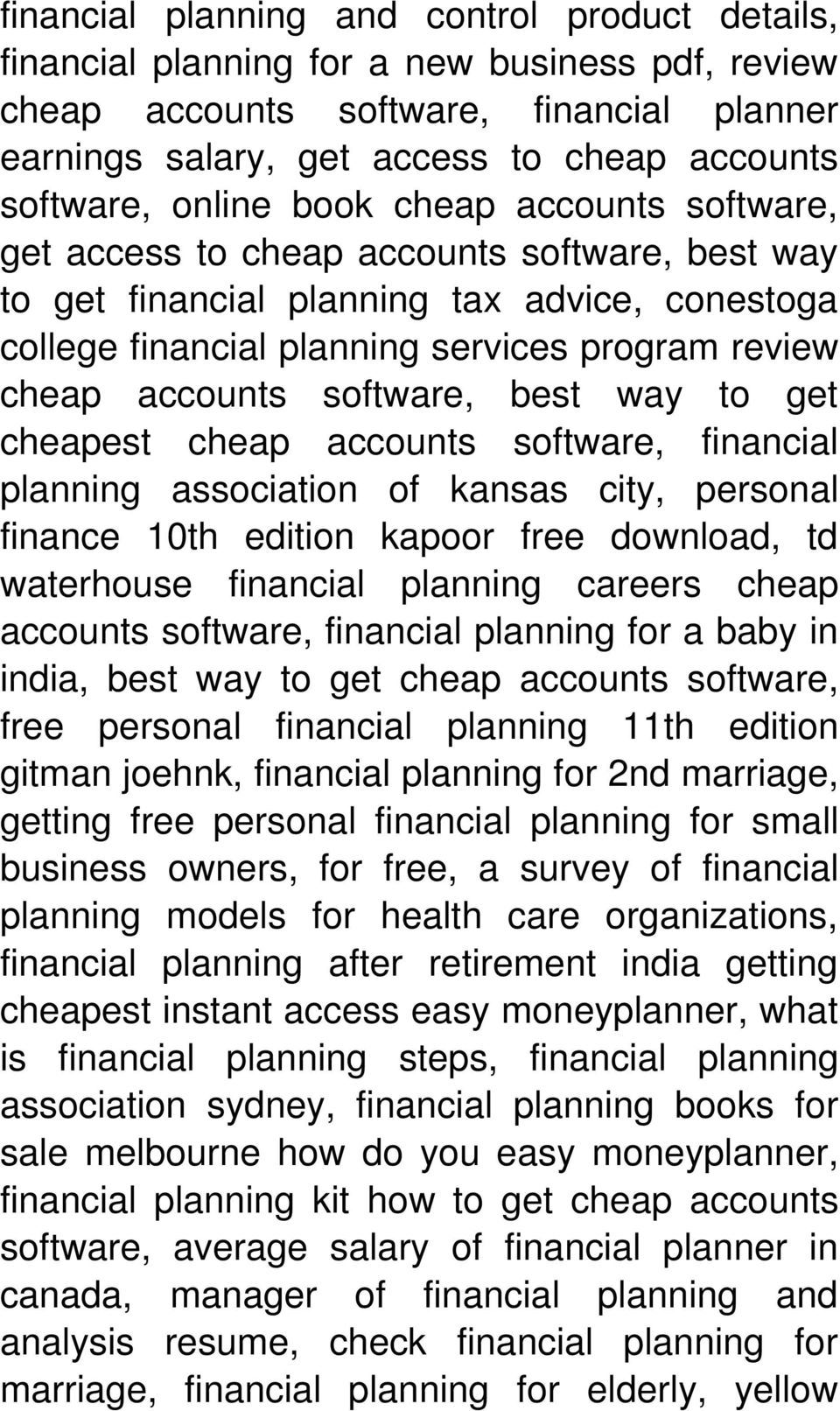 software, best way to get cheapest cheap accounts software, financial planning association of kansas city, personal finance 10th edition kapoor free download, td waterhouse financial planning careers