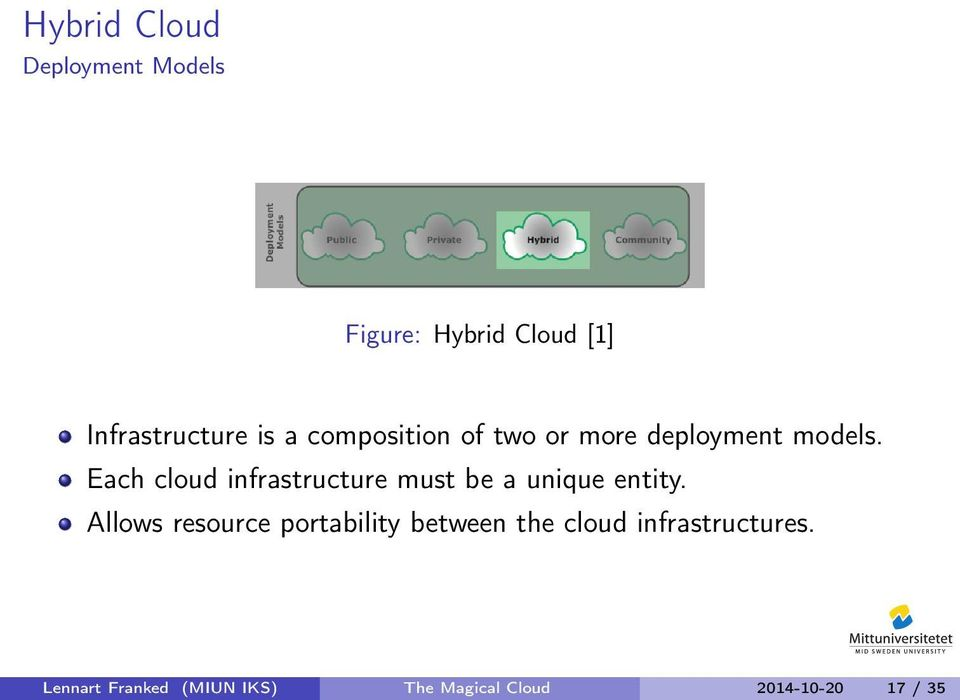 Each cloud infrastructure must be a unique entity.