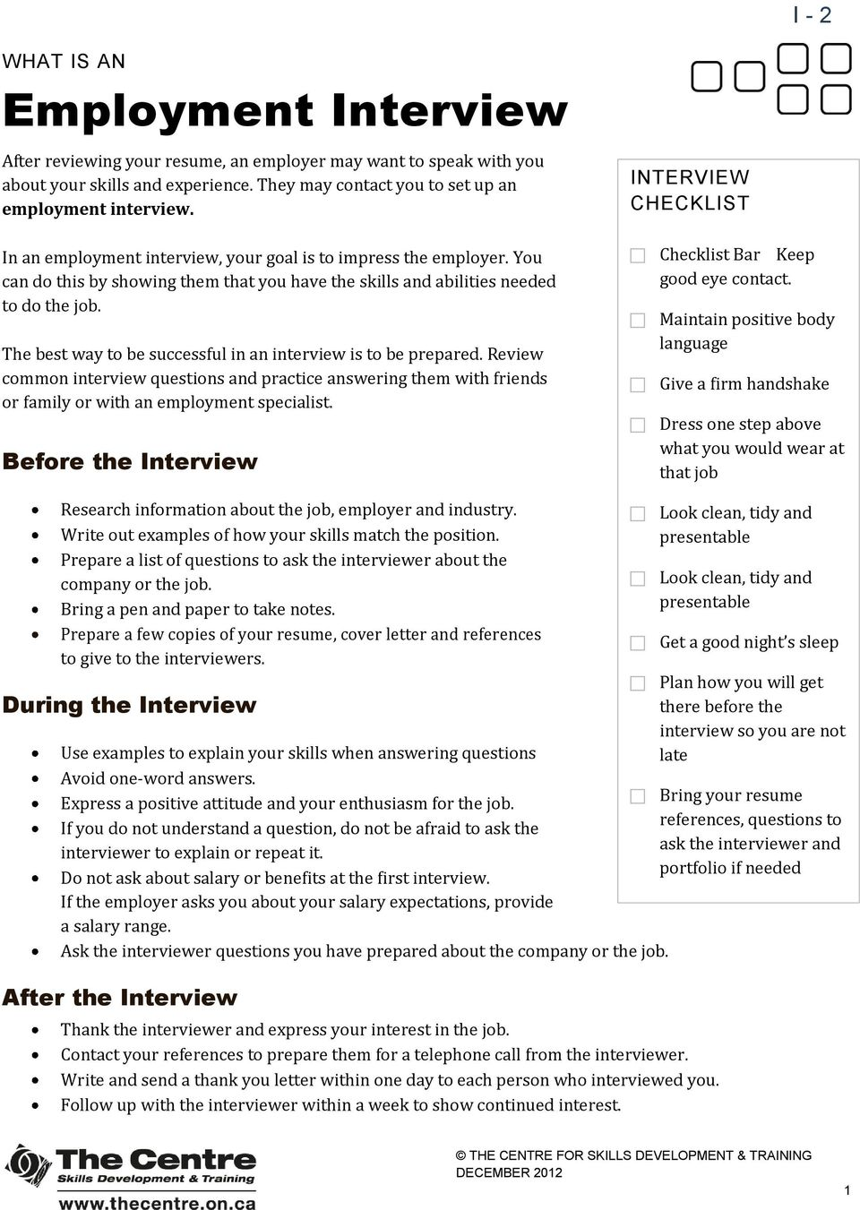 Interview Skills Tip Sheets Table Of Contents For What Is A