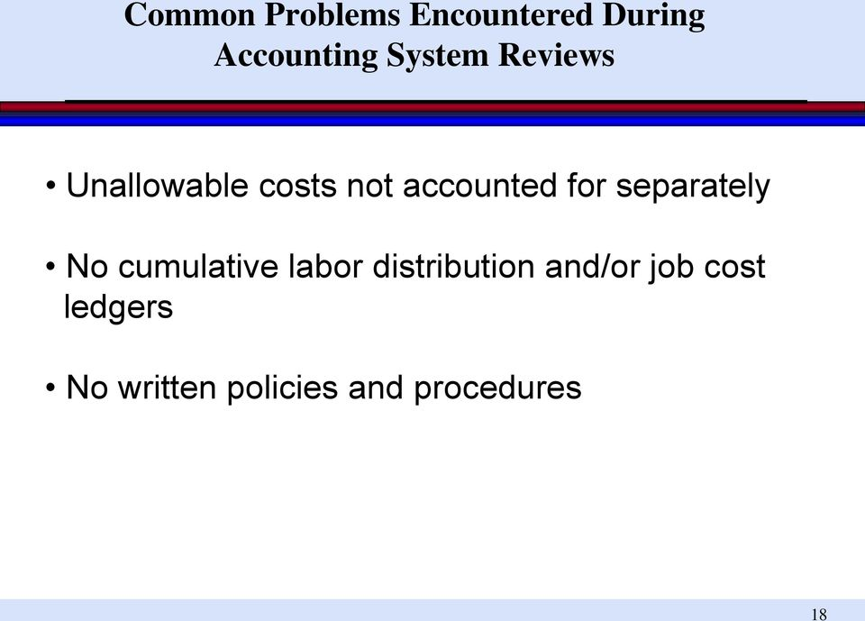 separately No cumulative labor distribution and/or
