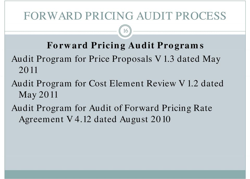 3 dated May 2011 Audit Program for Cost Element Review V