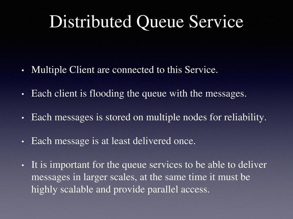 Each messages is stored on multiple nodes for reliability.
