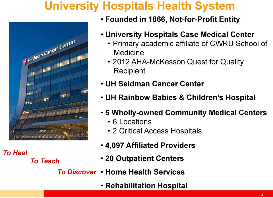 Center UH Rainbow Babies & Children s Hospital 5 Wholly-owned Community Medical Centers 6 Locations 2 Critical Access