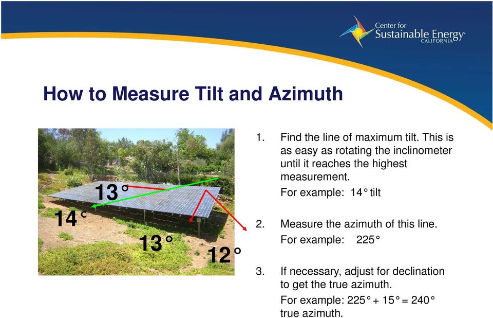 For example: 14 tilt 2. Measure the azimuth of this line. For example: 225 3.