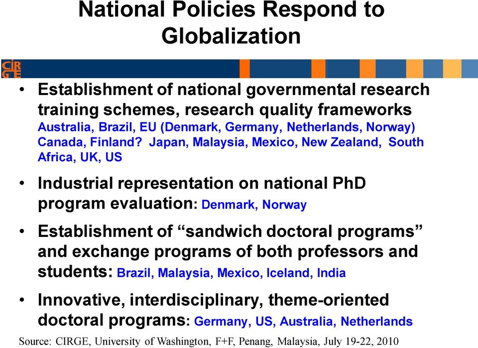 Japan, Malaysia, Mexico, New Zealand, South Africa, UK, US Industrial representation on national PhD program evaluation: Denmark, Norway