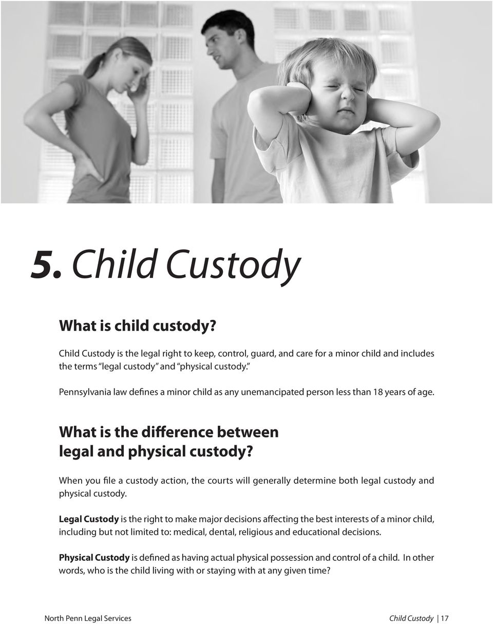 When you file a custody action, the courts will generally determine both legal custody and physical custody.