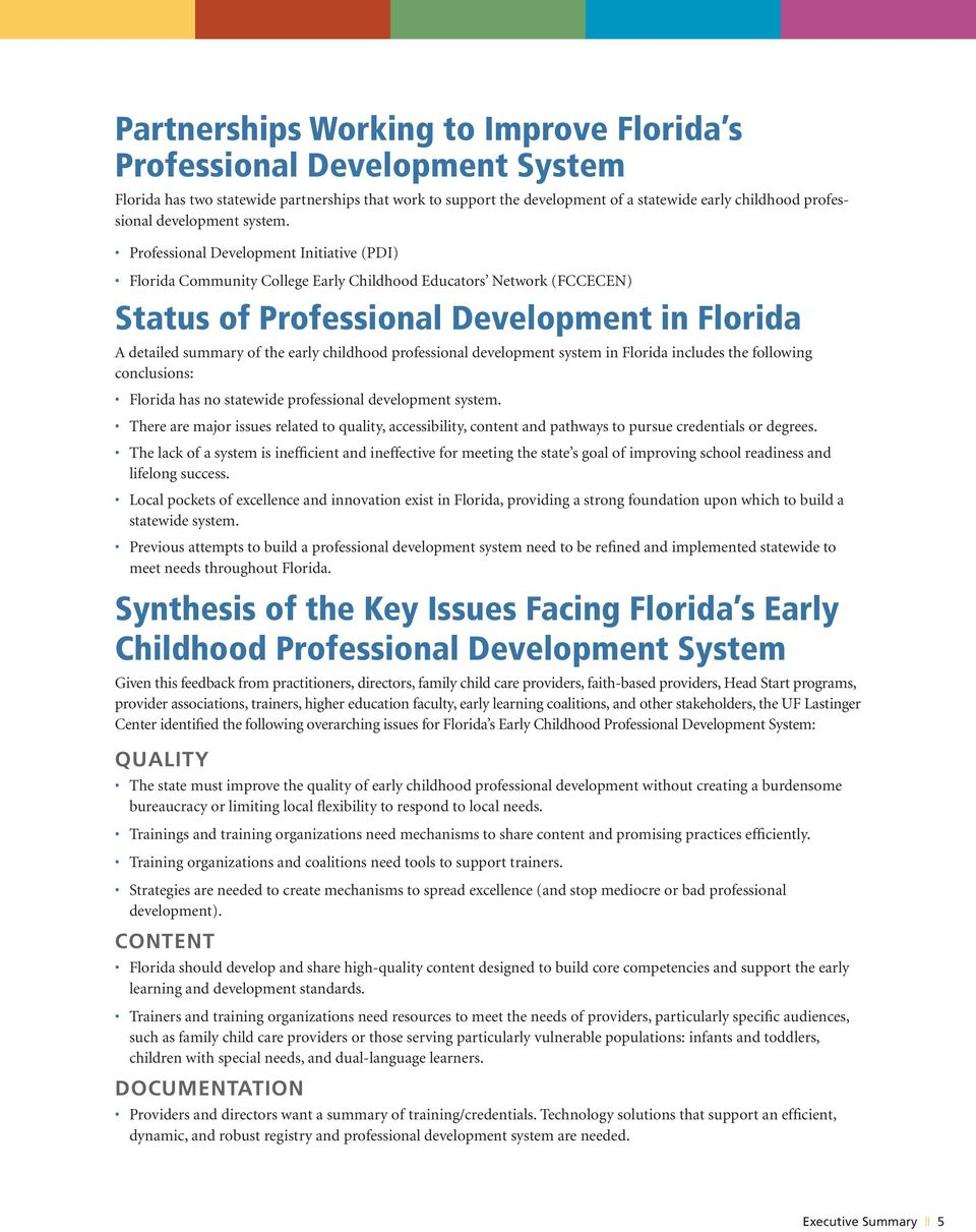 Professional Development Initiative (PDI) Florida Community College Early Childhood Educators Network (FCCECEN) Status of Professional Development in Florida A detailed summary of the early childhood