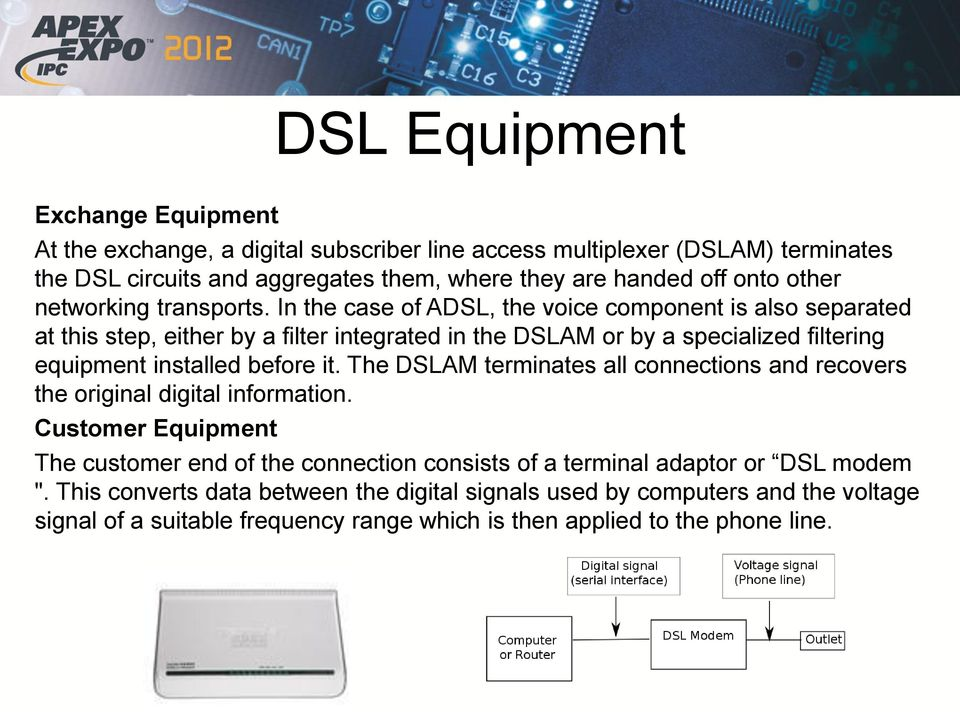 In the case of ADSL, the voice component is also separated at this step, either by a filter integrated in the DSLAM or by a specialized filtering equipment installed before it.