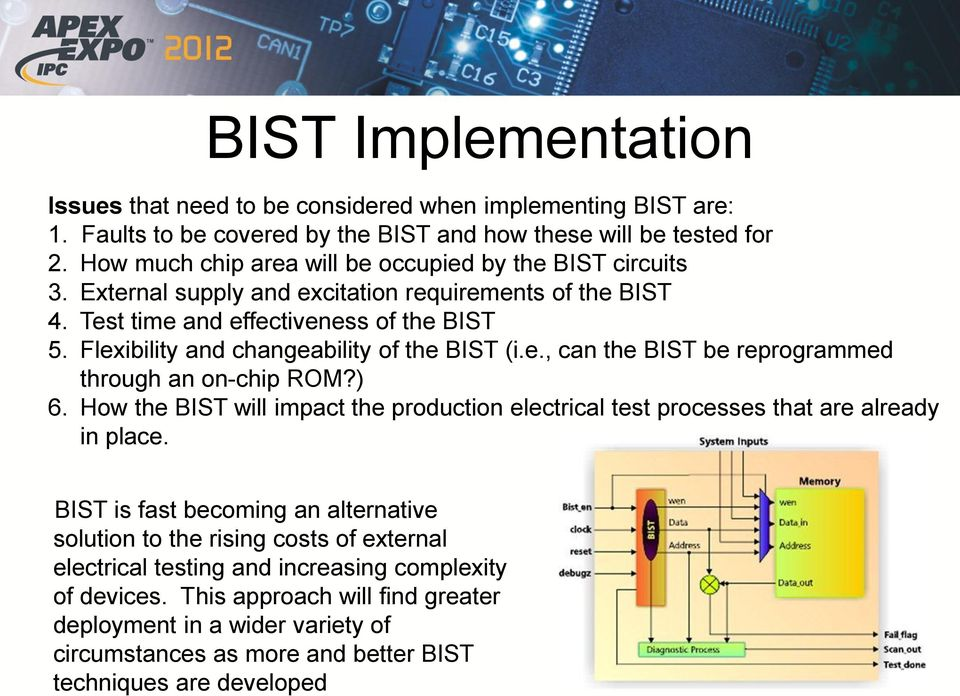 Flexibility and changeability of the BIST (i.e., can the BIST be reprogrammed through an on-chip ROM?) 6.