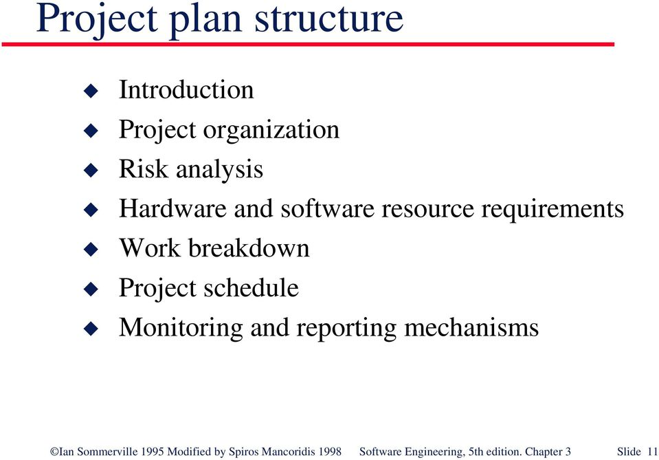 schedule Monitoring and reporting mechanisms Ian Sommerville 1995
