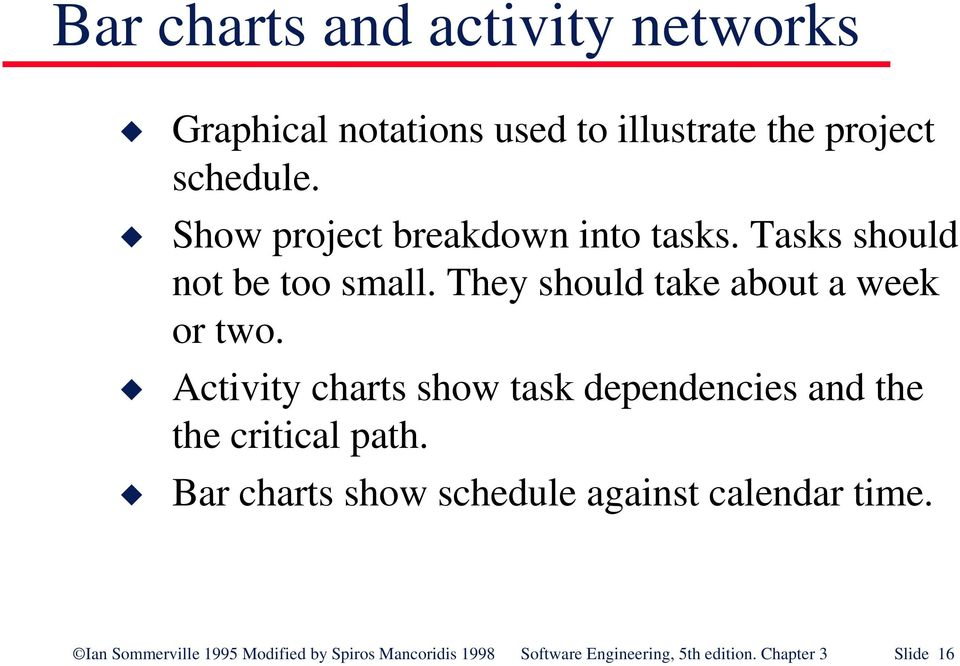 Activity charts show task dependencies and the the critical path.