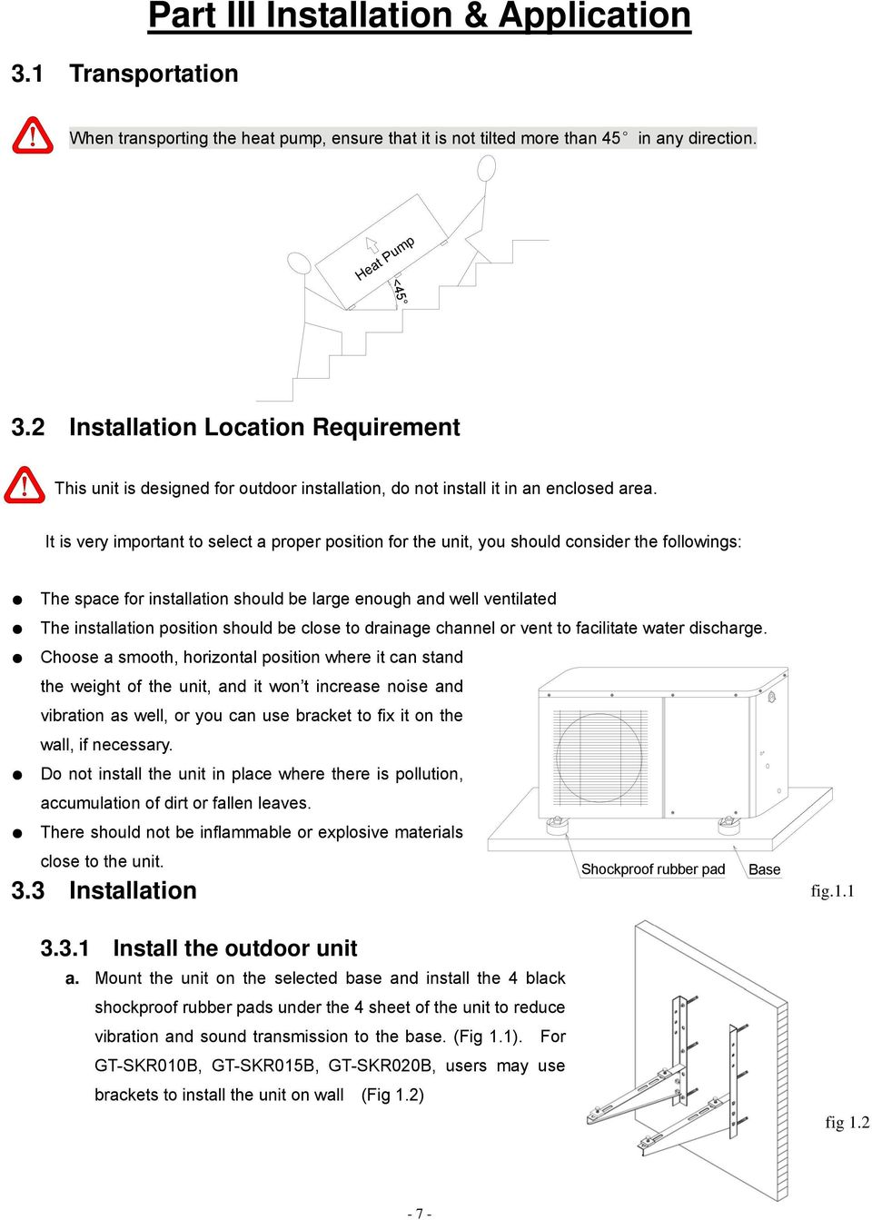 Instruction Manual Model Gt Skr010b Skr015b Skr020b Outlet How To Install Electrical Switch Included Type It Is Very Important Select A Proper Position For The Unit You Should Consider