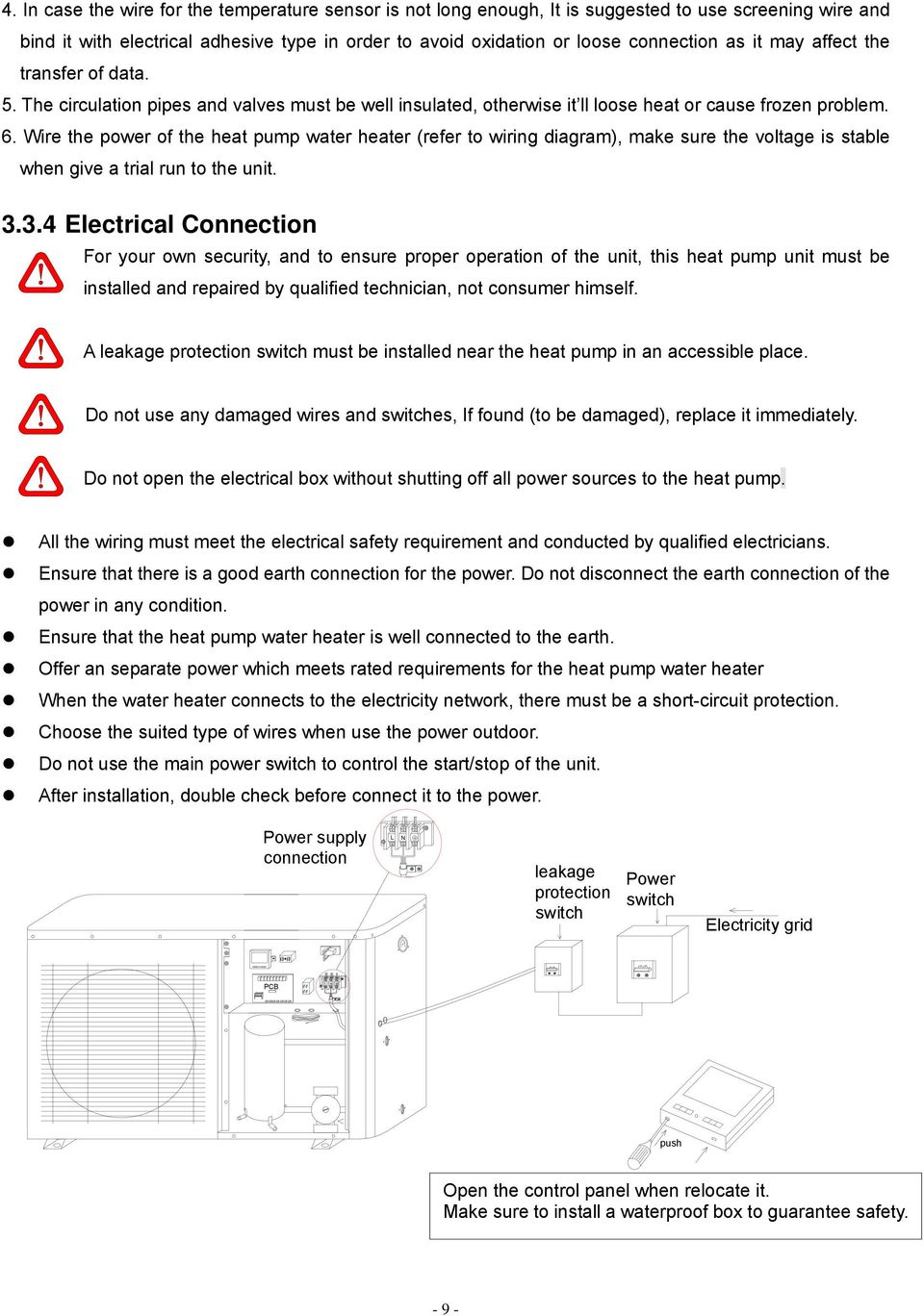 Instruction Manual Model Gt Skr010b Skr015b Skr020b Power Grid Wiring Diagram May Affect The Transfer Of Data 5 Circulation Pipes And Valves Must Be