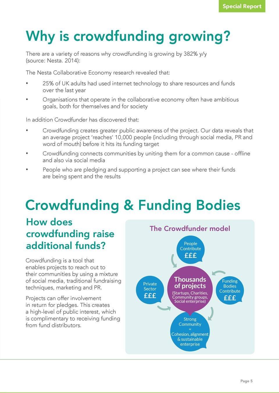 collaborative economy often have ambitious goals, both for themselves and for society In addition Crowdfunder has discovered that: Crowdfunding creates greater public awareness of the project.