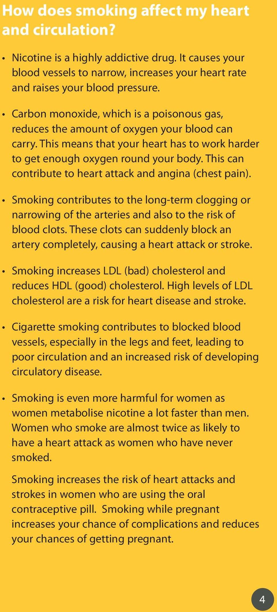 This can contribute to heart attack and angina (chest pain). Smoking contributes to the long-term clogging or narrowing of the arteries and also to the risk of blood clots.