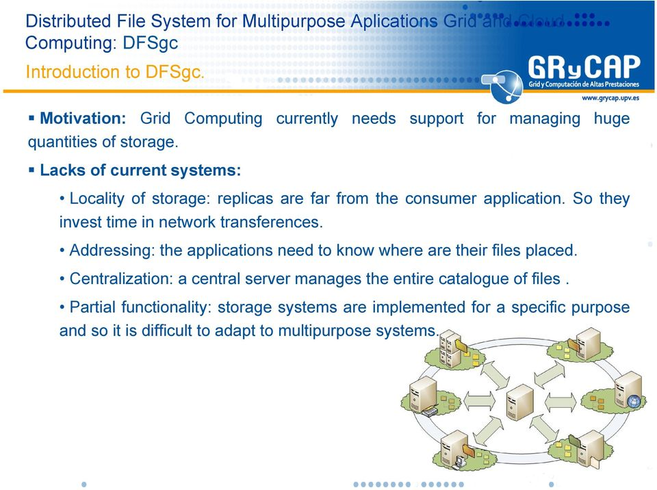 So they invest time in network transferences. Addressing: the applications need to know where are their files placed.