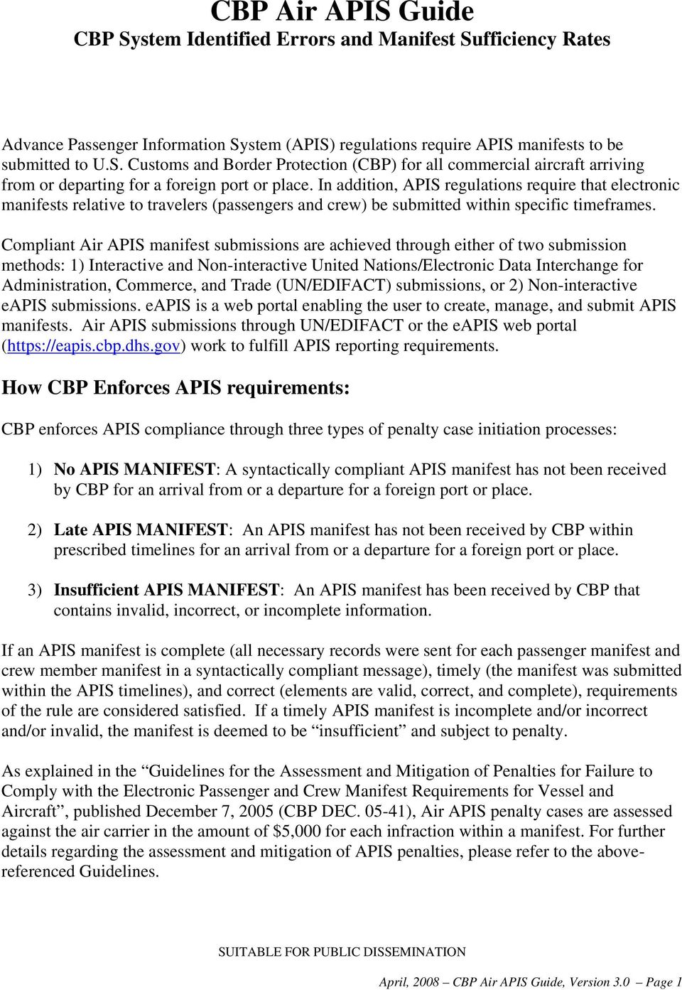 Compliant Air APIS manifest submissions are achieved through either of two submission methods: 1) Interactive and Non-interactive United Nations/Electronic Data Interchange for Administration,
