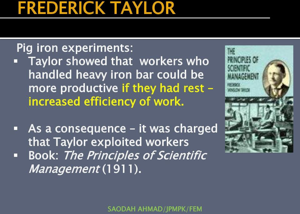 efficiency of work.