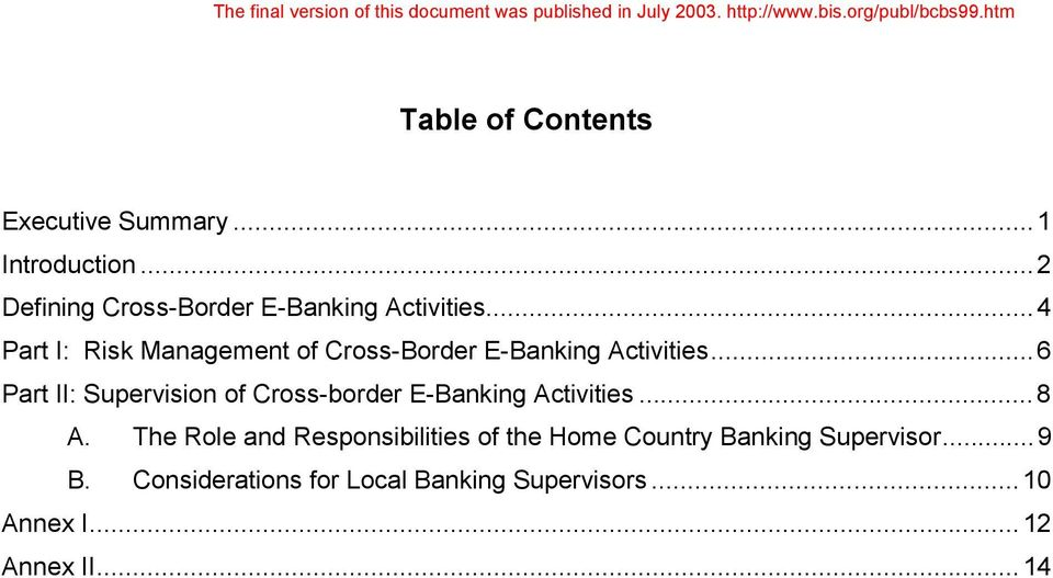 ..4 Part I: Risk Management of Cross-Border E-Banking Activities.