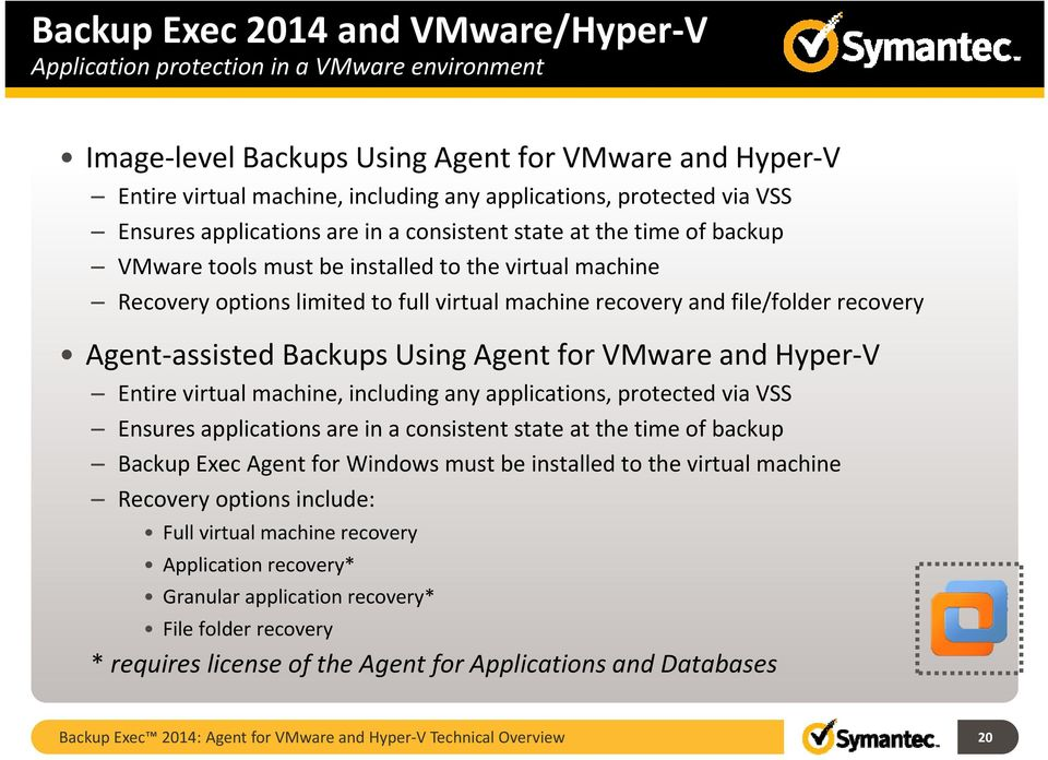 file/folder recovery Agent assisted Backups Using Agent for VMware and Hyper V Entire virtual machine, including any applications, protected via VSS Ensures applications are in a consistent state at