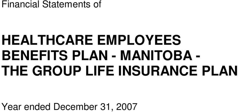 BENEFITS PLAN - MANITOBA