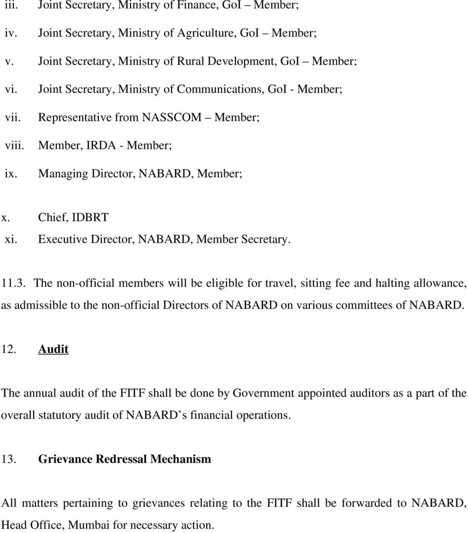 Executive Director, NABARD, Member Secretary. 11.3.