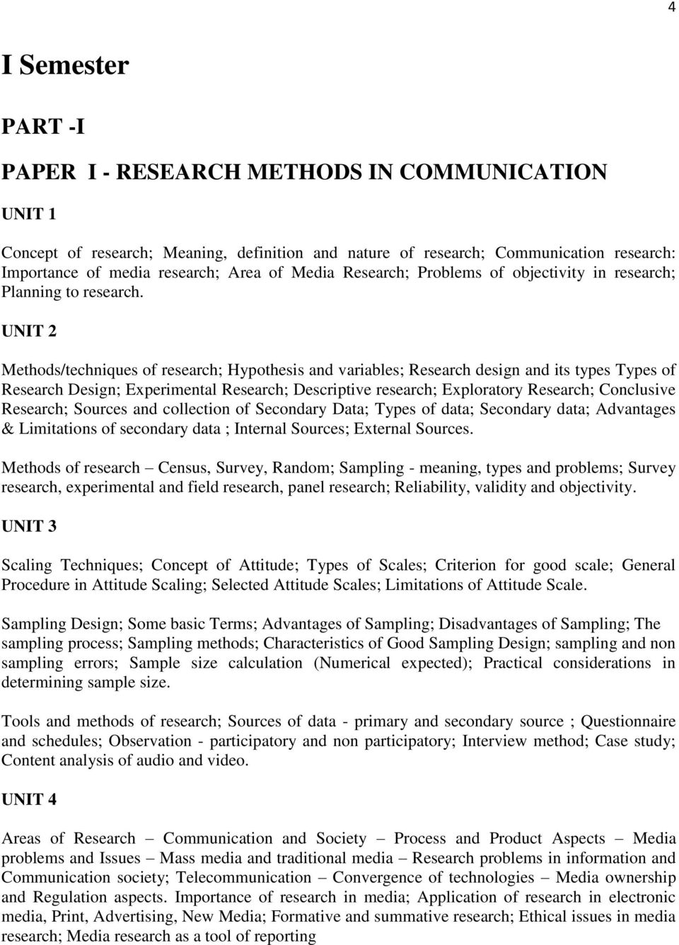 UNIT 2 Methods/techniques of research; Hypothesis and variables; Research design and its types Types of Research Design; Experimental Research; Descriptive research; Exploratory Research; Conclusive