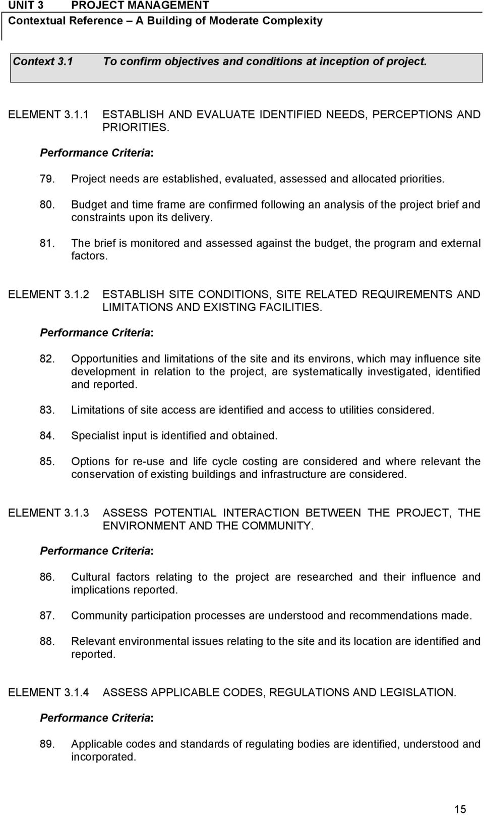 81. The brief is monitored and assessed against the budget, the program and external factors. ELEMENT 3.1.2 ESTABLISH SITE CONDITIONS, SITE RELATED REQUIREMENTS AND LIMITATIONS AND EXISTING FACILITIES.