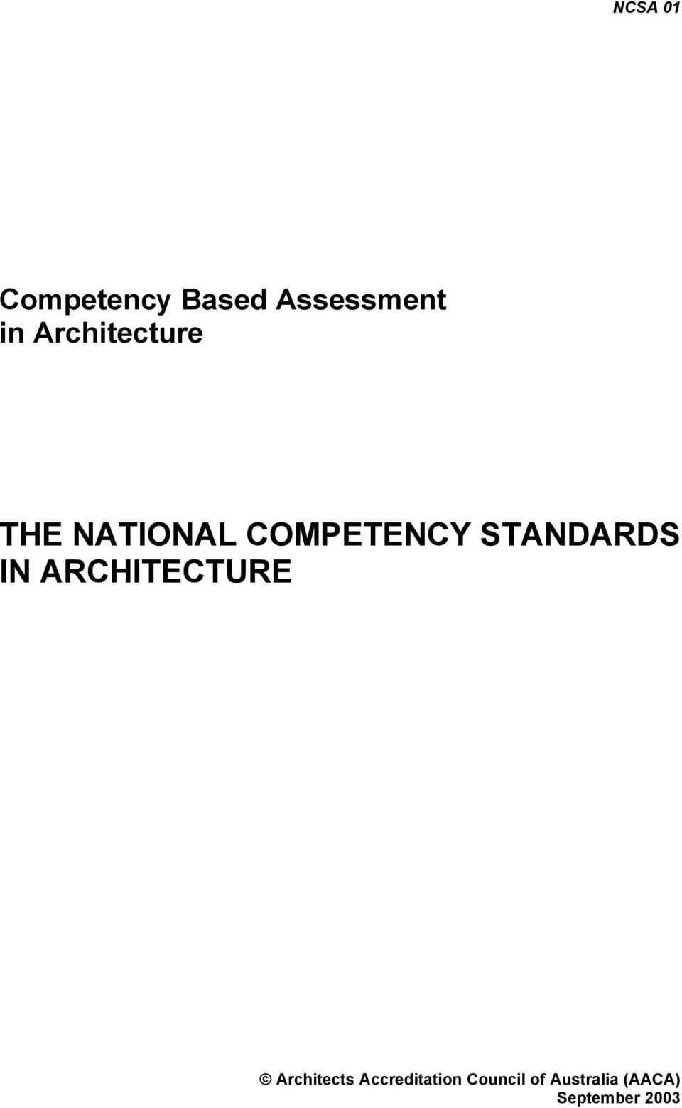 STANDARDS IN ARCHITECTURE Architects