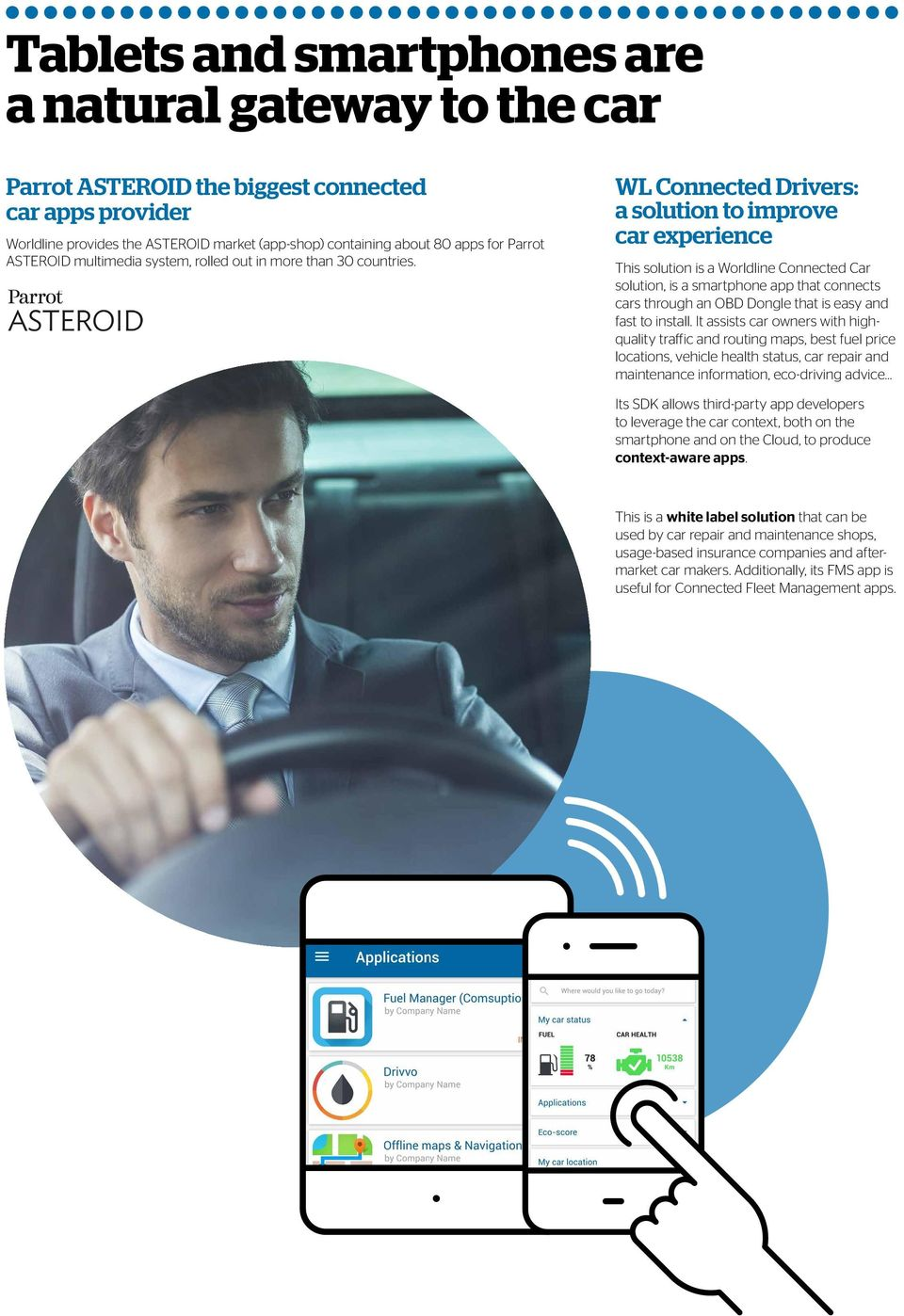 WL Connected Drivers: a solution to improve car experience This solution is a Worldline Connected Car solution, is a smartphone app that connects cars through an OBD Dongle that is easy and fast to