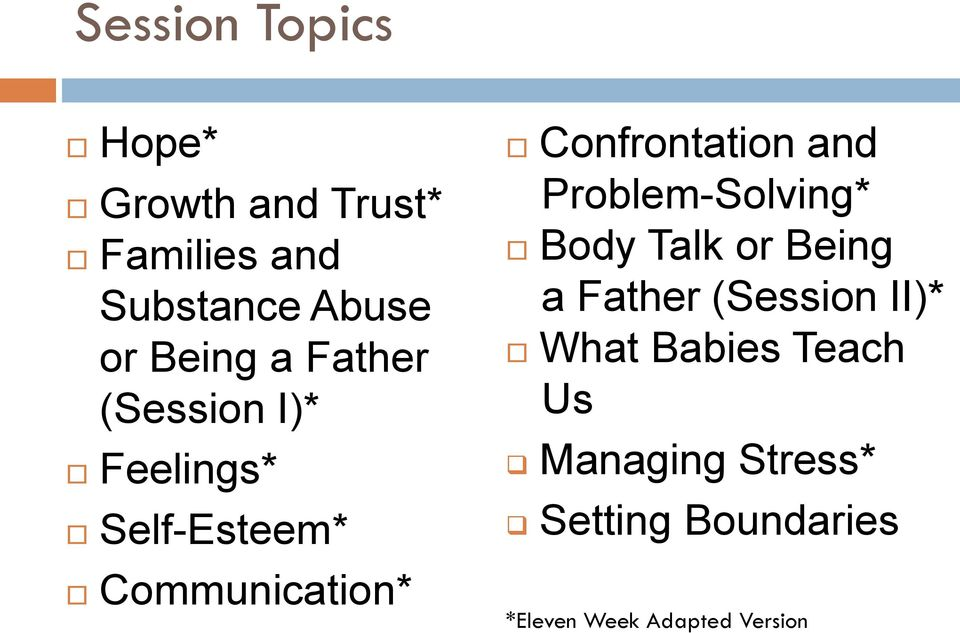 Confrontation and Problem-Solving* Body Talk or Being a Father (Session