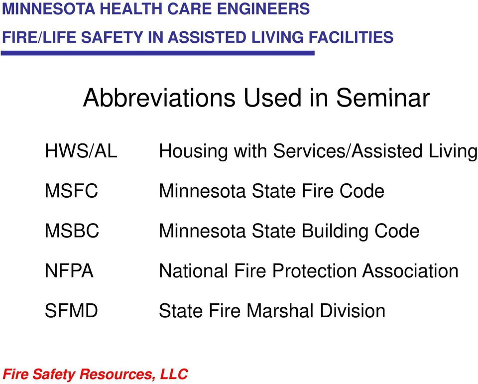 Housing with Services/Assisted Living Minnesota State Fire Code Minnesota
