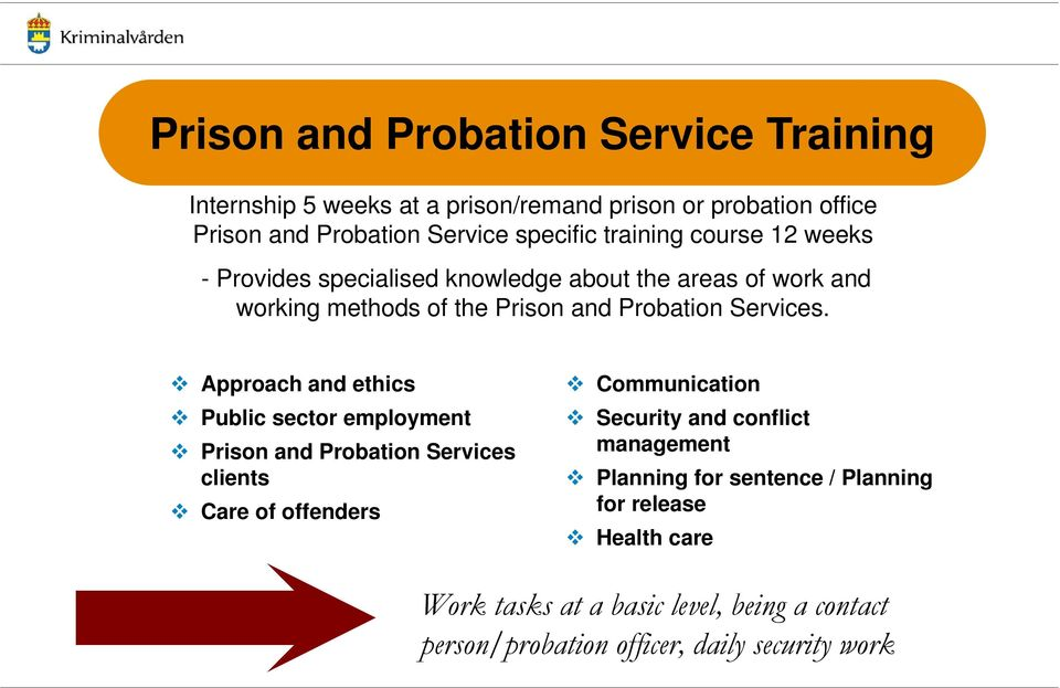 Approach and ethics Public sector employment Prison and Probation Services clients Care of offenders Communication Security and conflict