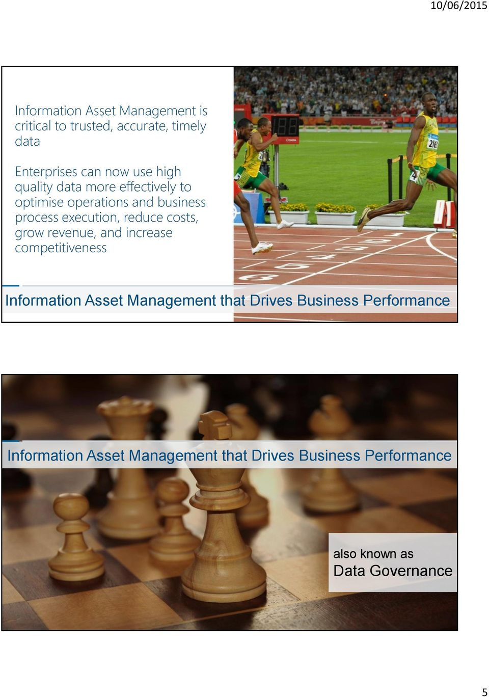 costs, grow revenue, and increase competitiveness Information Asset Management that Drives Business