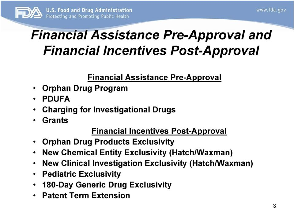 Post-Approval Orphan Drug Products Exclusivity New Chemical Entity Exclusivity (Hatch/Waxman) New