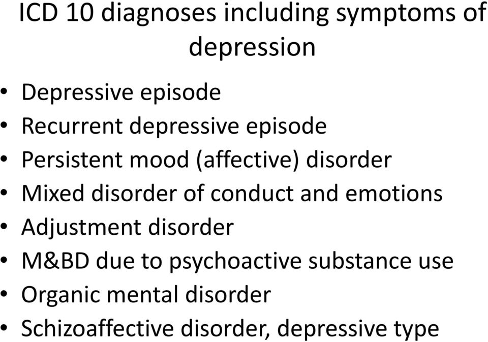 disorder of conduct and emotions Adjustment disorder M&BD due to
