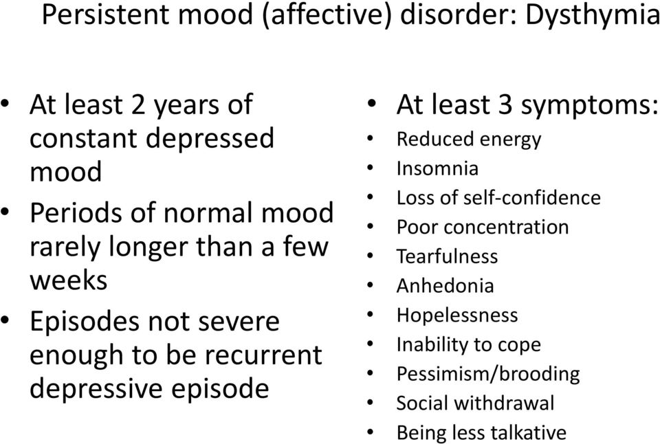 episode At least 3 symptoms: Reduced energy Insomnia Loss of self-confidence Poor concentration