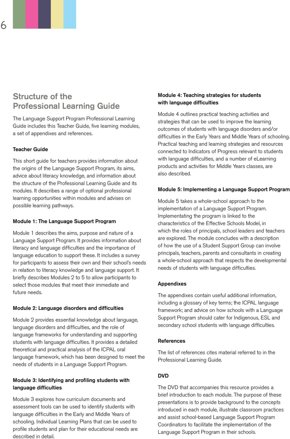 the Professional Learning Guide and its modules. It describes a range of optional professional learning opportunities within modules and advises on possible learning pathways.