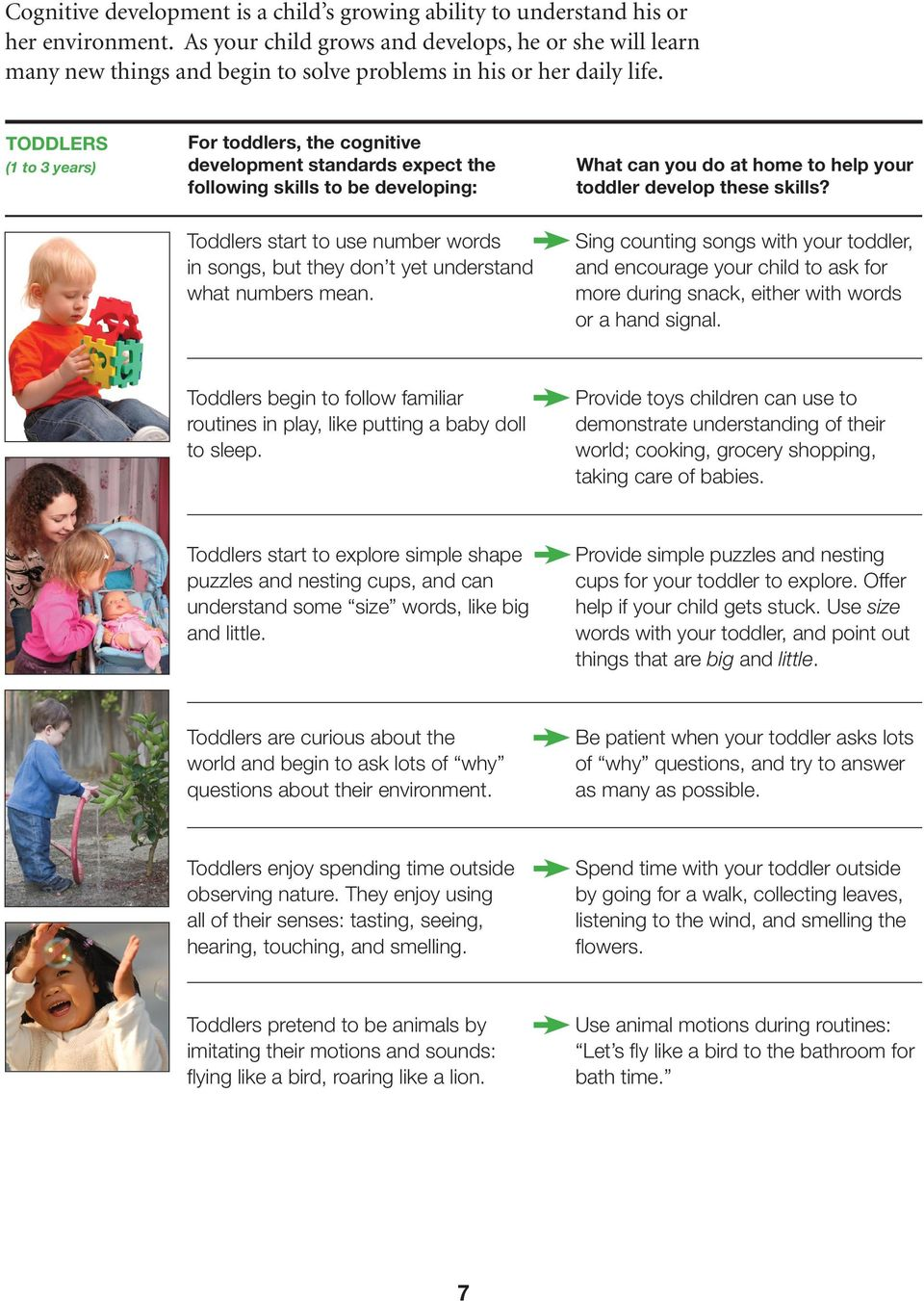 TODDLERS (1 to 3 years) For toddlers, the cognitive development standards expect the following skills to be developing: What can you do at home to help your toddler develop these skills?