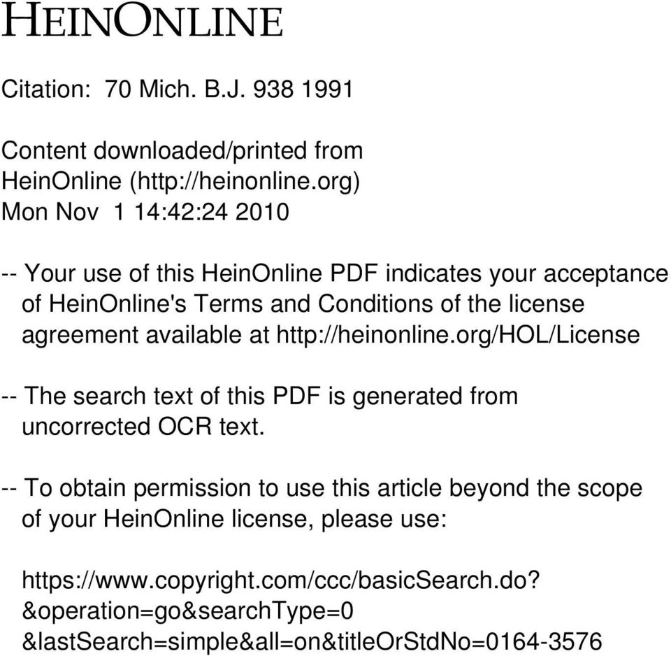 agreement available at http://heinonline.org/hol/license -- The search text of this PDF is generated from uncorrected OCR text.