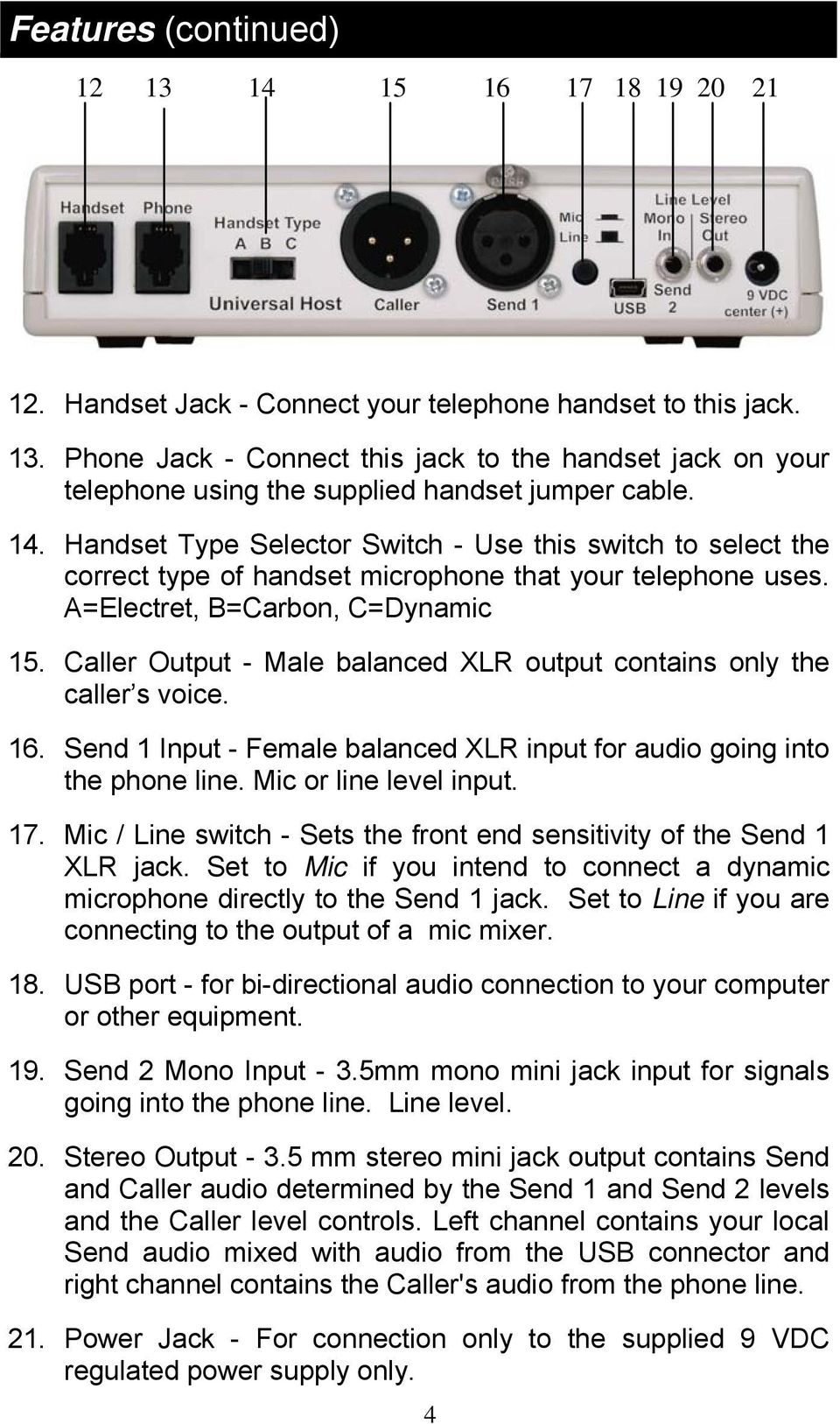 Caller Output - Male balanced XLR output contains only the caller s voice. 16. Send 1 Input - Female balanced XLR input for audio going into the phone line. Mic or line level input. 17.