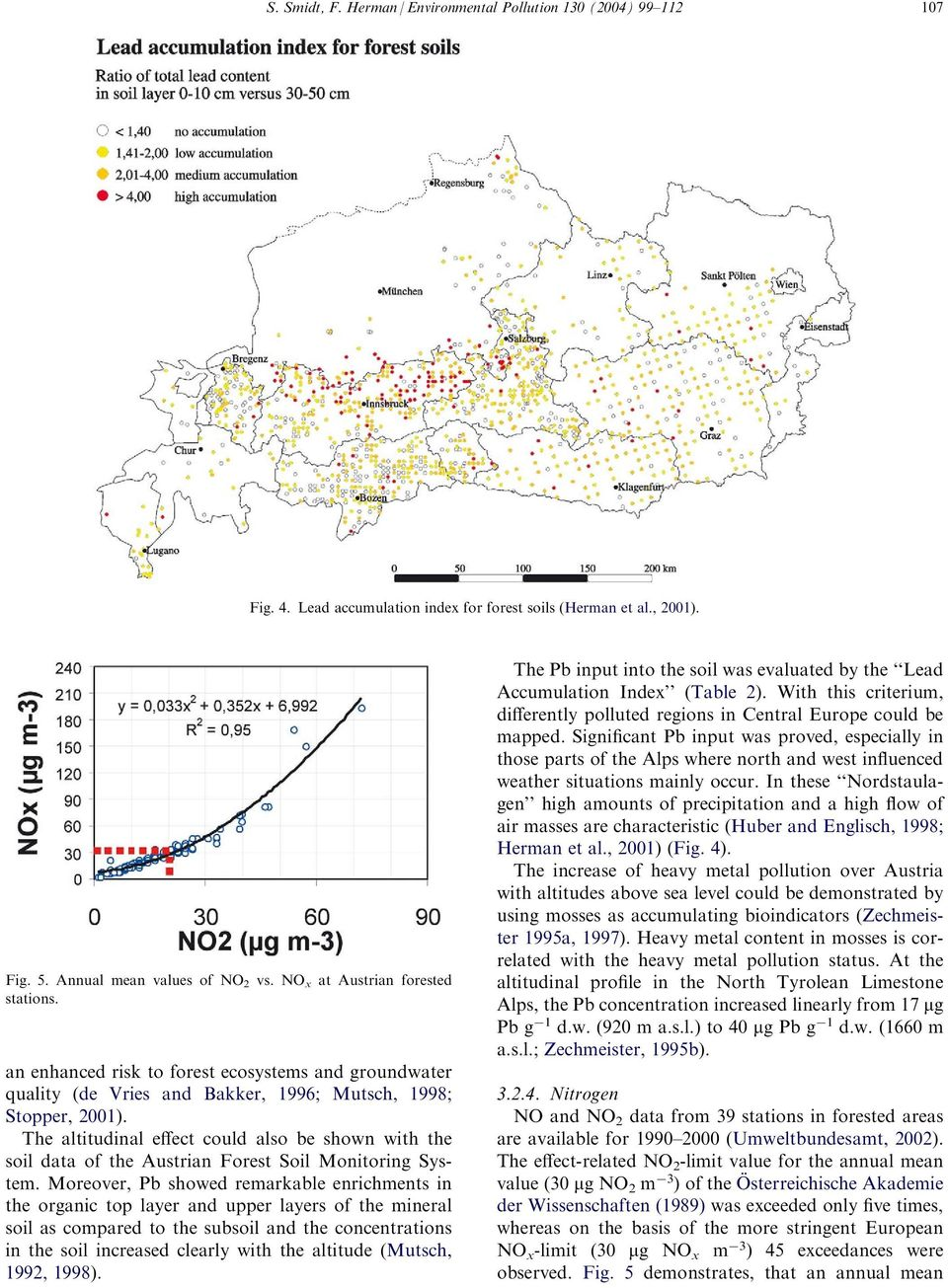 The altitudinal effect could also be shown with the soil data of the Austrian Forest Soil Monitoring System.