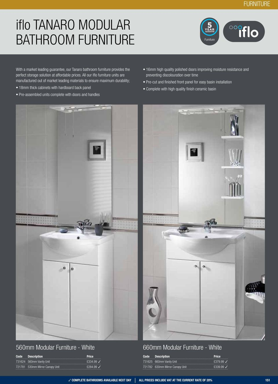 handles 16mm high quality polished doors improving moisture resistance and preventing discolouration over time Pre-cut and finished front panel for easy basin installation Complete with high quality