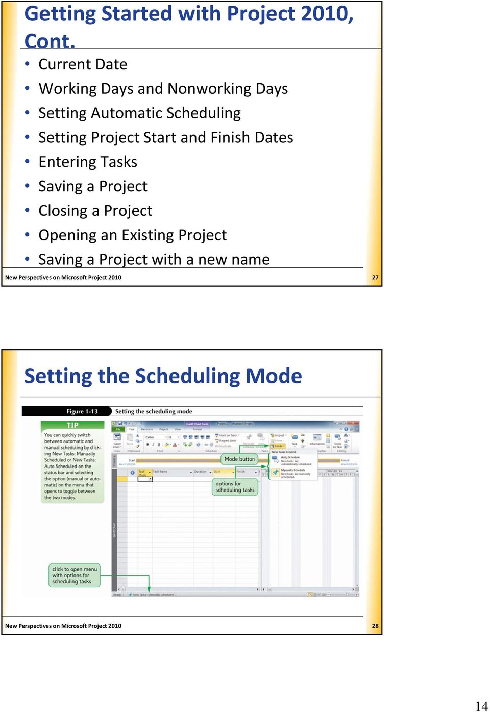 and Finish Dates Entering Tasks Saving a Project Closing a Project Opening an Existing Project