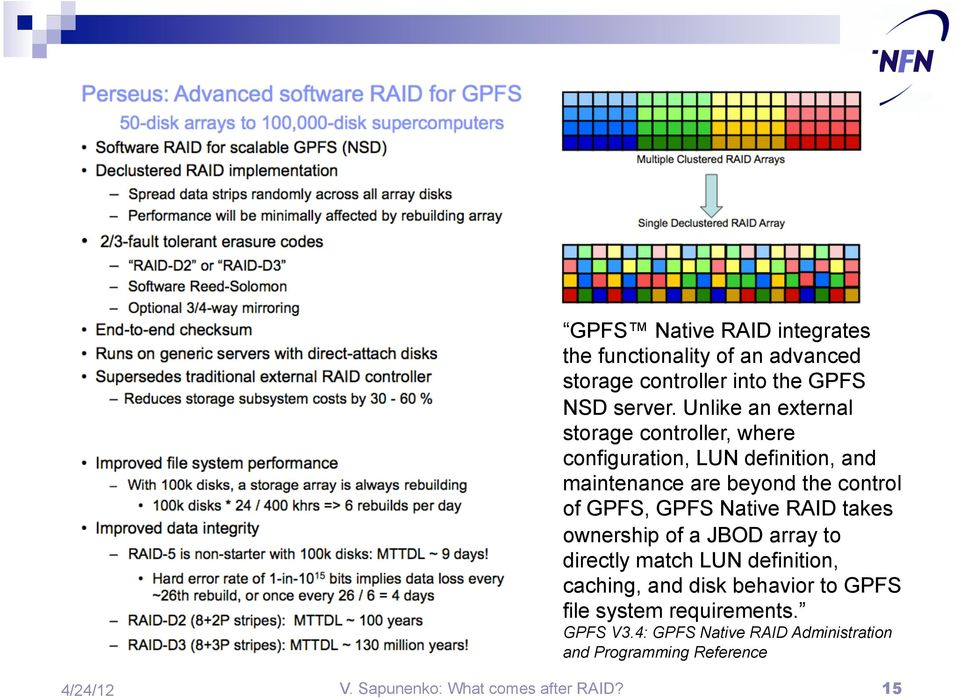 GPFS, GPFS Native RAID takes ownership of a JBOD array to directly match LUN definition, caching, and disk behavior to